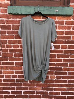 Knotted Up T-Shirt Dress : Sage
