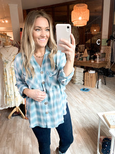 Slouchy Plaid Top : Teal