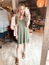 Load image into Gallery viewer, Over The Moon T-Shirt Dress : Army Olive