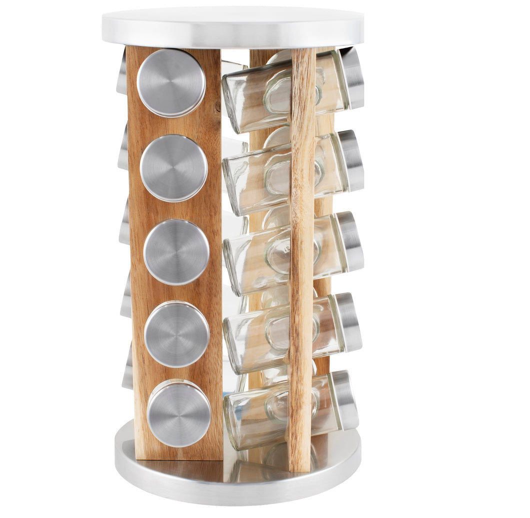 20 Jar Spice Rack in Natural Acacia Wood -  No Spices - Stainless Steel Lids - My Spice Racks
