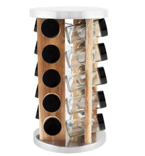 Load image into Gallery viewer, 20 Jar Spice Rack in Natural Acacia Wood -  No Spices- Black Lids - My Spice Racks