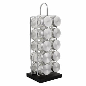 10 Jar Spice Rack - No Spices - Stainless Steel Lids - My Spice Racks