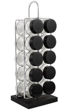 Load image into Gallery viewer, 10 Jar Spice Rack - No Spices - Black Lids - My Spice Racks