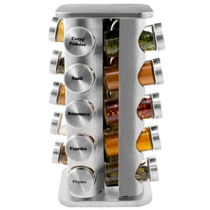 20 Jar Stainless Steel Spice Rack with Custom Spices - My Spice Racks