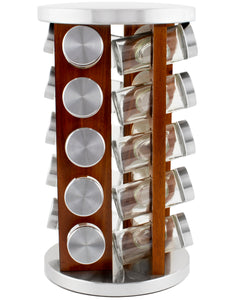 20 Jar Spice Rack in Dark Acacia Wood -  No Spices- Stainless Steel Lids - My Spice Racks