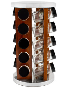 20 Jar Spice Rack in Dark Acacia Wood -  No Spices - Black Lids - My Spice Racks