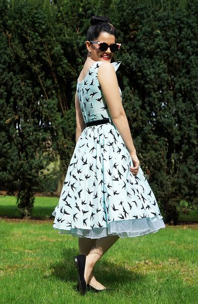 The Swan Dress in Bird Print