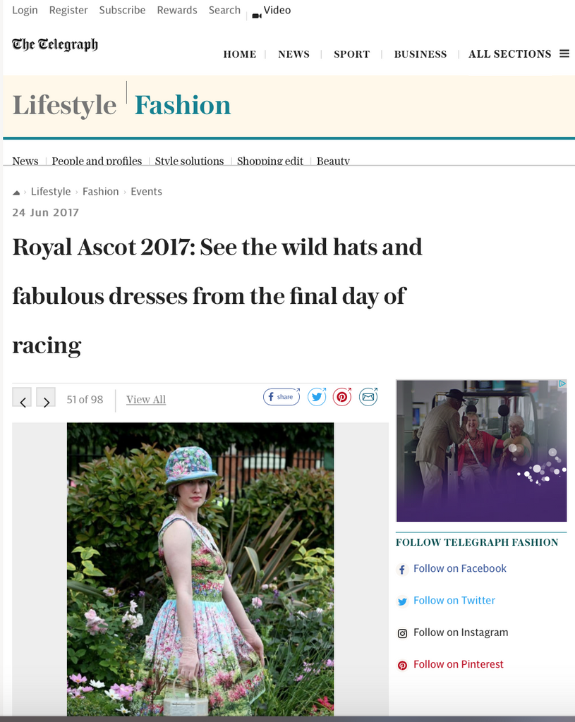 Betsy Bamford wears a Bernie Dexter dress to Ascot!!