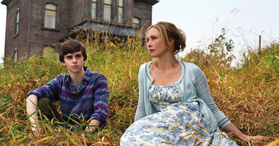 Paris dress in blue toil has been on New Bates Motel series