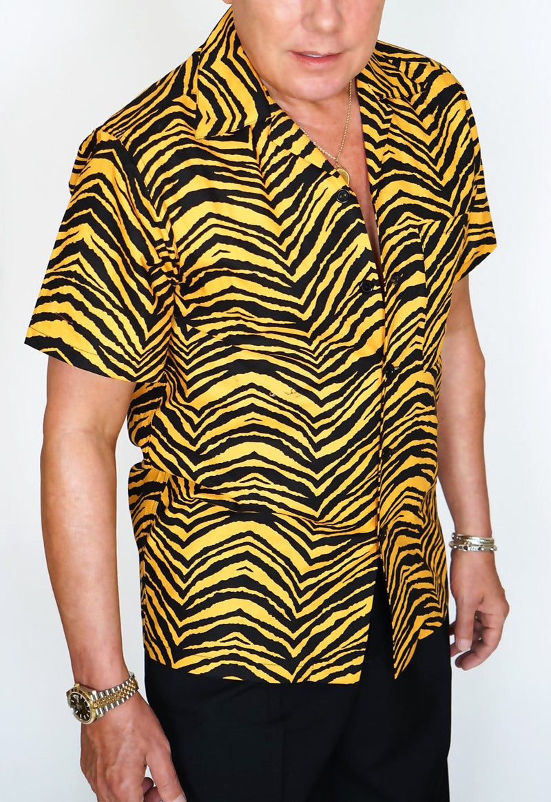 Men's Short Sleeve Shirt in Jungle Tiger print