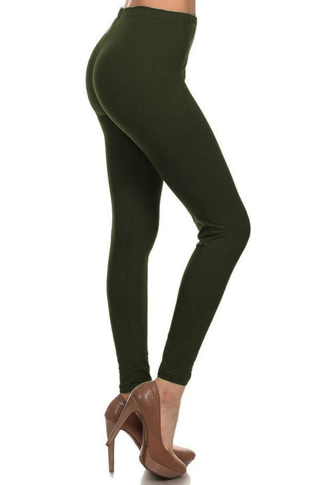 Warm Fuzzy Feeling High Waist Fleece Leggings OLIVE