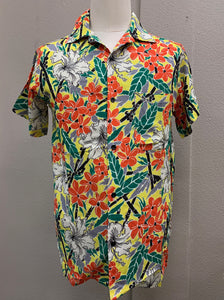 Levi Mens Shirt in Bamboo Plumeria Rayon