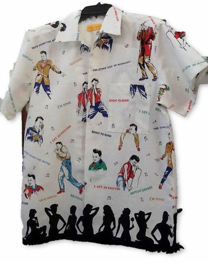 Mens Shirt  in Rockabilly Idol print - Bernie Dexter