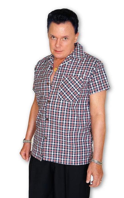 Mens Shirt in Navy & Red Plaid - Bernie Dexter