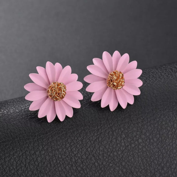 Pink Flower Earrings-Bijoux Exclusive-Bijoux Exclusive
