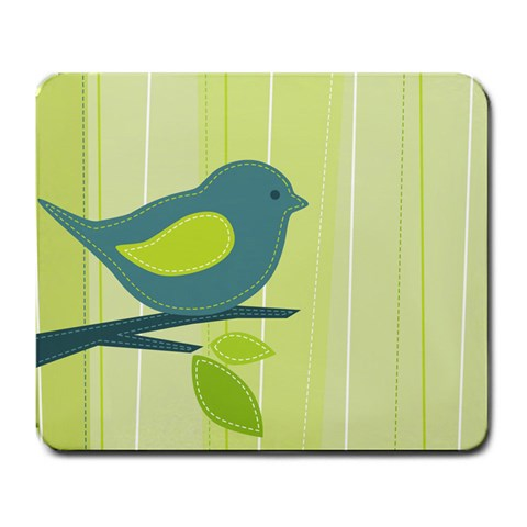 Bird on Branch Green Pastel Art Mouse Pad
