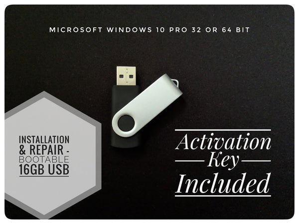 Windows 10 Pro Installation or Repair Recover Install USB drive with License 32 & 64 Bit Key Code