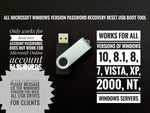 Windows Password Recovery Reset USB Tool for Windows 10, 8.1, 8, 7, Vista, XP, 2000 and Windows servers