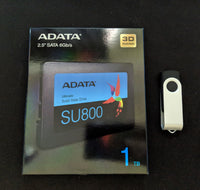 "Adata 2.5"" SATA 1TB SSD + Windows 10 Pro 32 or 64 Bit USB Boot Install Recover Drive + Window 10 Pro Activation Key BUNDLE"