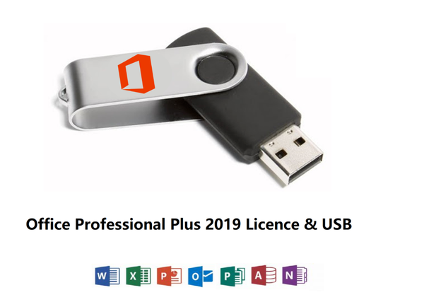 Microsoft Office 2019 Professional Plus 32 or 64 Bit USB Key