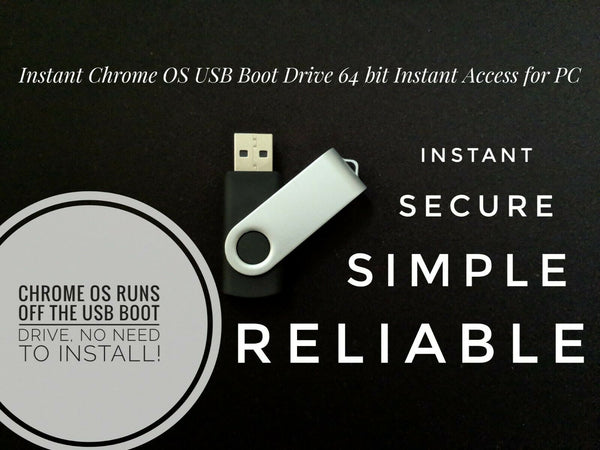 Instant Chrome OS USB Boot Drive 64 Bit Boot off any computer via USB Start
