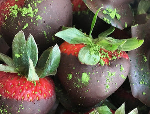 Matcha Dusted Strawberries & Cacao Butter Glaze