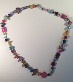 Beaded Glass Necklace: Puzzle Colors