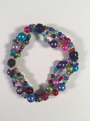 Beaded Glass Bracelet: Colorful Pearls