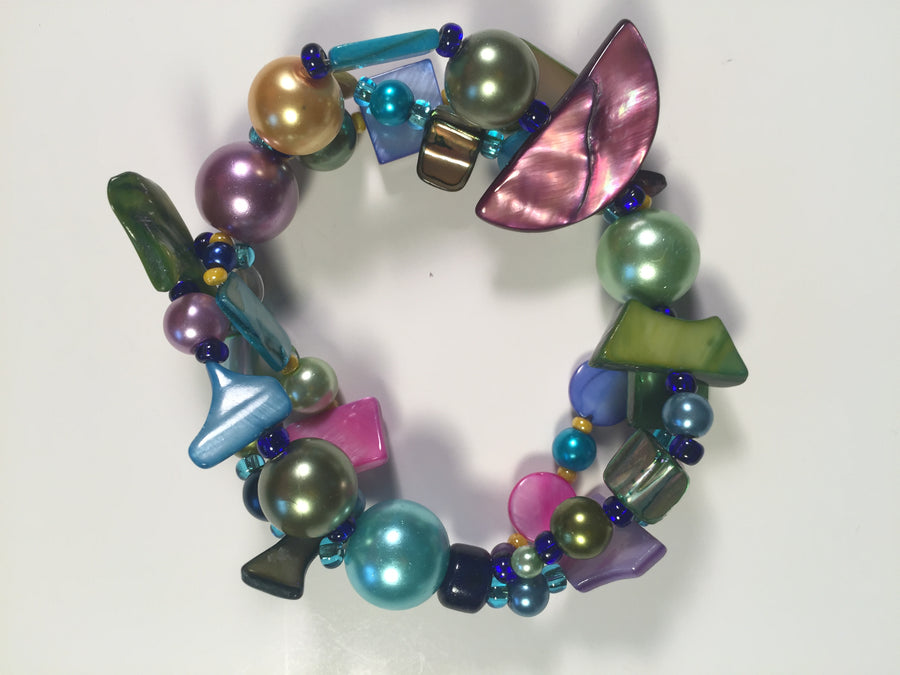 Beaded Glass Bracelet: Puzzle Colors 2