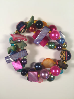 Beaded Glass Bracelet: Puzzle Color Spray