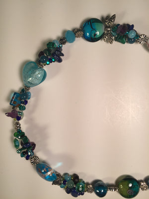 Beaded Glass Necklace: Blue Ice Hearts