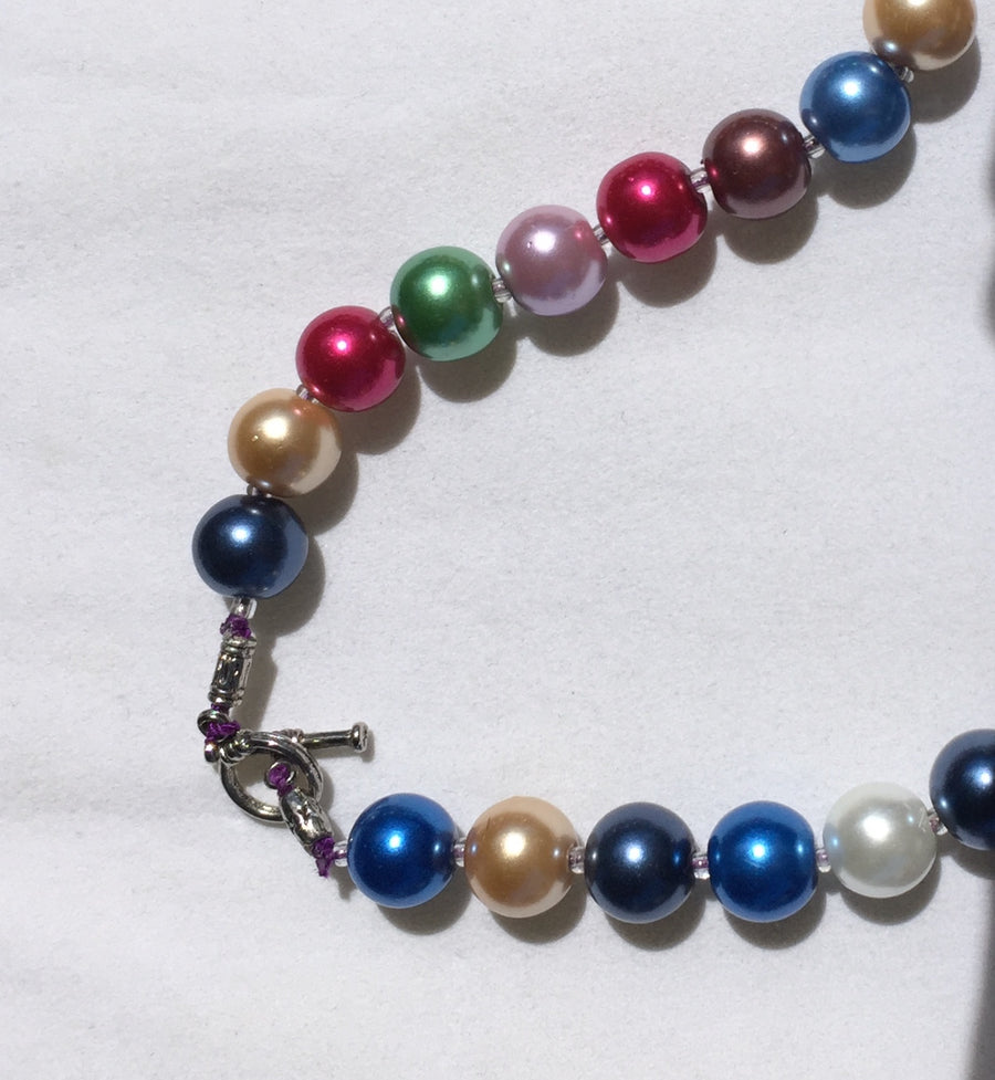 Beaded Glass Necklace: Multi-color Pearl-sized Long Strand