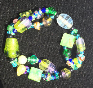 Beaded Glass Bracelet: Blue Green 3