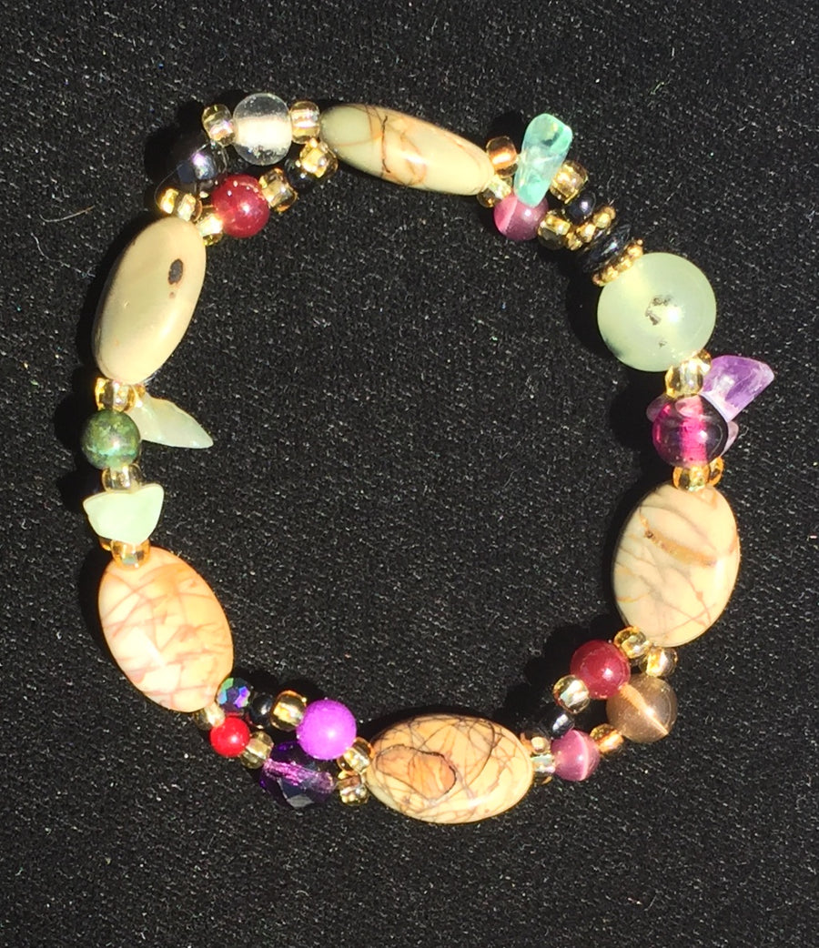 Beaded Glass Bracelet: Purple Earth