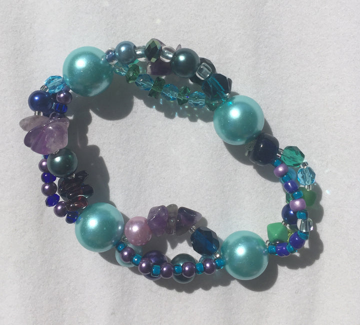 Beaded Glass Bracelet: Blue Triple