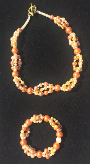 Beaded Glass Set: Golden Strands Necklace and Bracelet