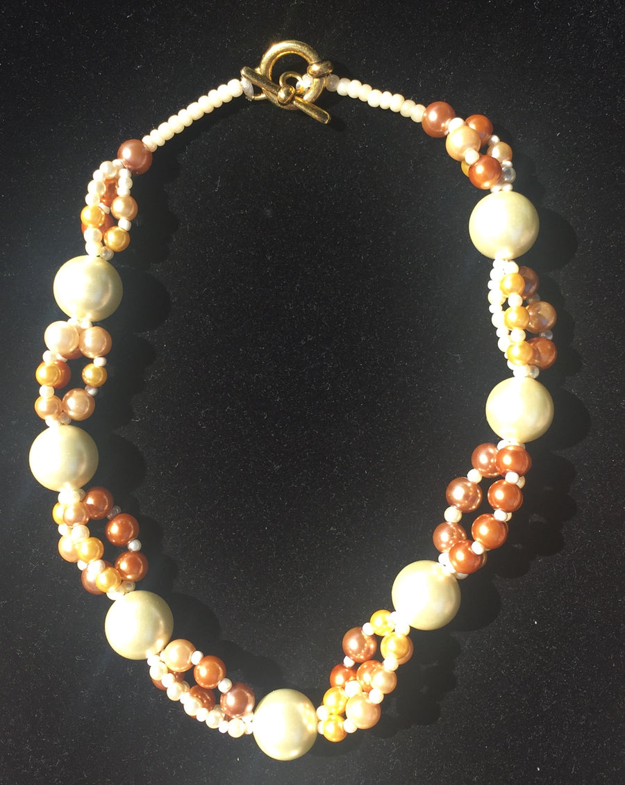 Beaded Glass Set: Golden Strands 1 Necklace and Bracelet