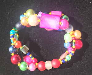 Beaded Glass Bracelet: Triple Colors 2