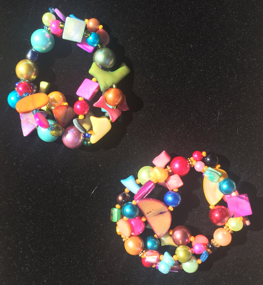 Beaded Glass Bracelet set: Puzzle Colors 4