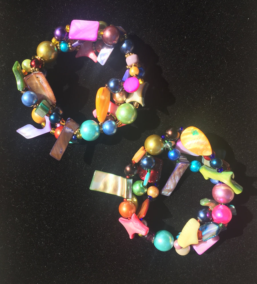 Beaded Glass Bracelet set: Puzzle Colors 3