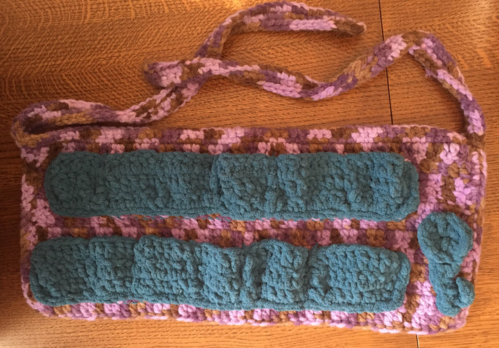 Egg Collection Apron (adult) Teal, brown, purple with crocheted flower