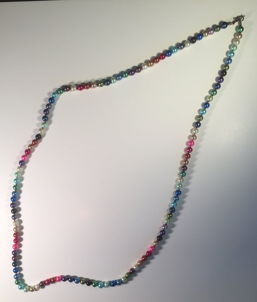 Beaded Glass Necklace: Colorful Pearls
