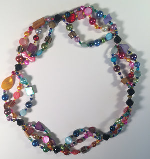 Beaded Glass Necklace: Elastic Multi-color