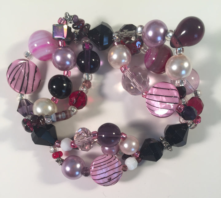 Beaded Glass Bracelet: Purple Joy 2