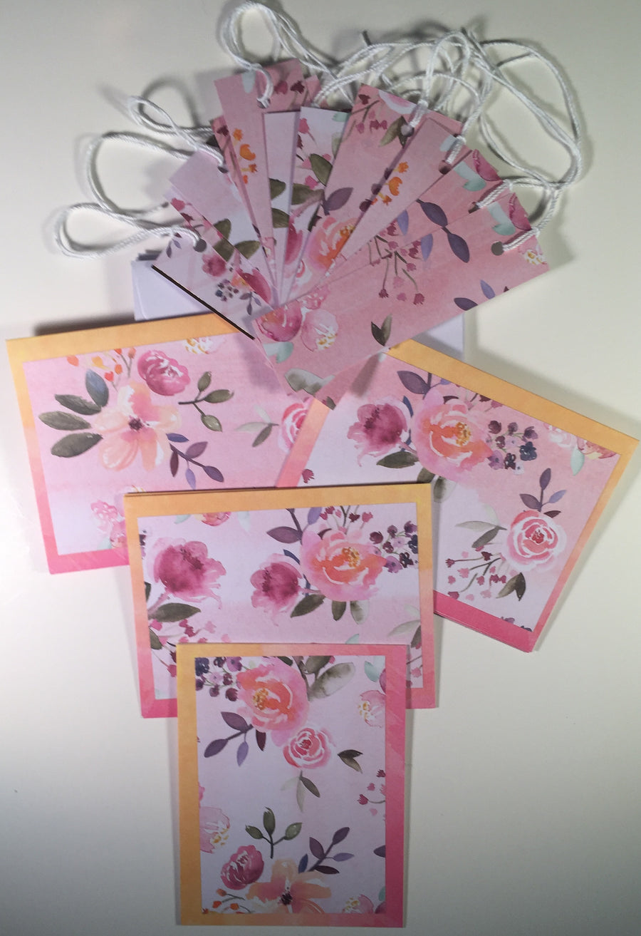 Cards&Tags: Yellow/Pink framed florals