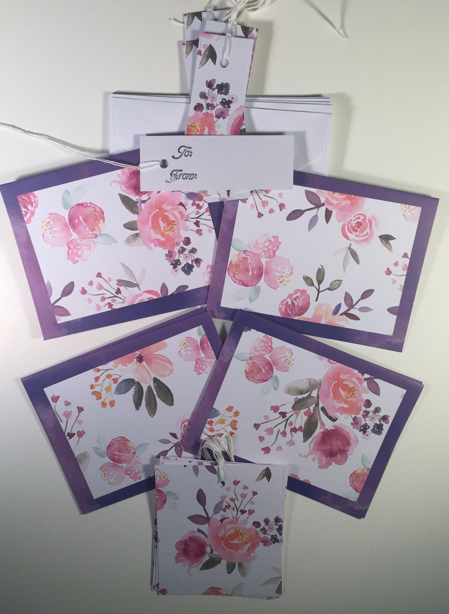 Cards&Tags: Purple Floral