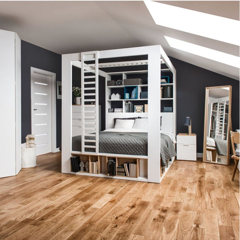 Double bed with canopy and bookcase