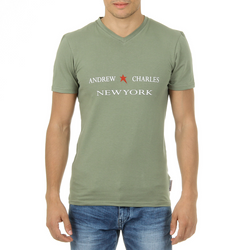 Andrew Charles Mens T-Shirt Short Sleeves V-Neck Green KENAN