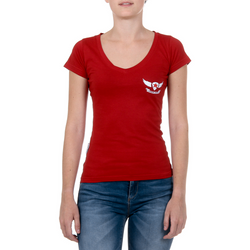 Andrew Charles Womens T-Shirt Short Sleeves V-Neck Red TAPIWA