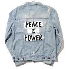 Load image into Gallery viewer, Peace is Power Denim Jacket Back